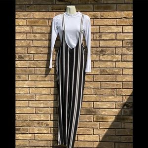 NWT striped over all jumpsuit